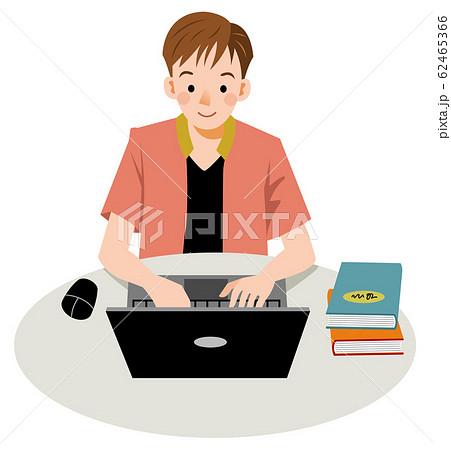 パソコンに向かう若い男性 62465366