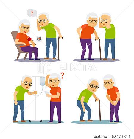 Old man and woman sick. Old mens, womens disease vector illustration 62473811