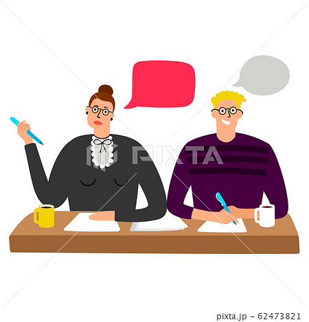 Cartoon character HR managers interview vector illustration 62473821