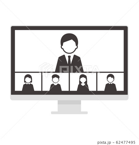 ウェブミーティング 5人 デスクトップパソコン 単体 イラスト モノクロ 62477495