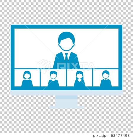 ウェブミーティング 5人 デスクトップパソコン 単体 イラスト 青 62477498