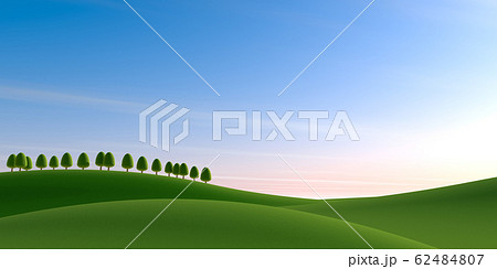 青空の背景。木々と大自然。3Dイラスト 62484807