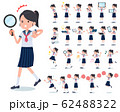flat type school girl Sailor suit summer_Action 62488322