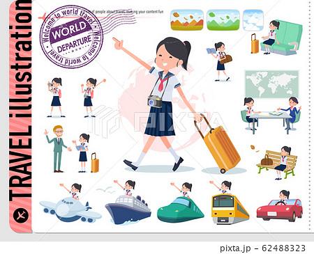 flat type school girl Sailor suit summer_travel 62488323