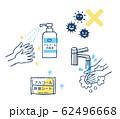 手洗いとアルコール消毒 62496668