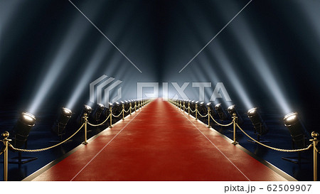 3D rendering red carpet with volume light in 4k 62509907
