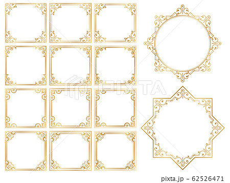飾り罫 フレーム ゴールド セット 62526471