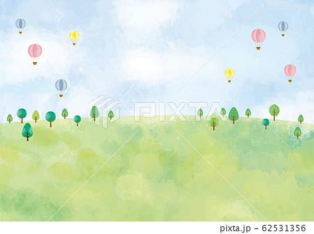 風景:水彩 水彩画 背景 背景素材 風景 にじみ 丘 草原 野原 春 夏 秋 冬 原っぱ 高原 森 62531356