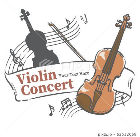 楽器のイラストを使った、コンサートポスターなどに使えるデザイン素材 62532069