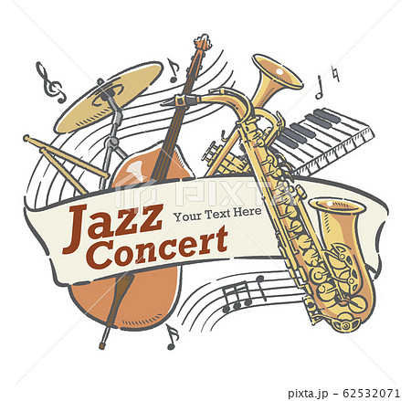 楽器のイラストを使った、コンサートポスターなどに使えるデザイン素材 62532071