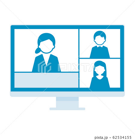 ウェブミーティング 3人 デスクトップパソコン 単体 イラスト 青 62534155