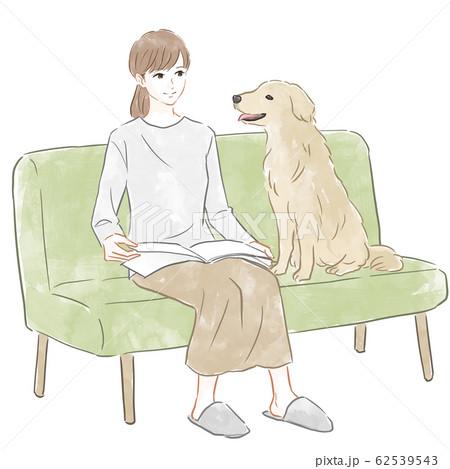 ソファに座る女性と犬 62539543