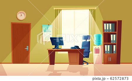 cartoon empty office with window, modern interior 62572873