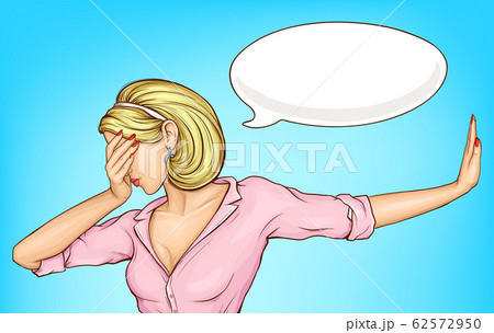 Disappointed woman making facepalm cartoon 62572950
