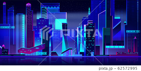 Futuristic cityscape panoramic view at night time. 62572995