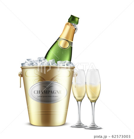 Opened champagne bottle in bucket with ice 62573003