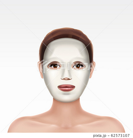 Face of young girl applying cosmetic facial mask 62573107