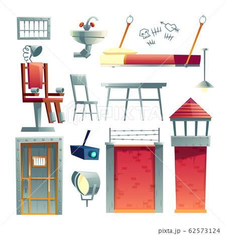 Prison cell, jail building elements set 62573124