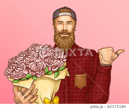 Hipster man with bouquet of roses 62573180