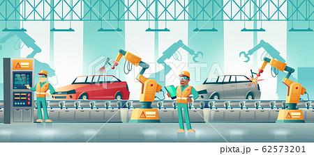 Robotized car factory cartoon concept 62573201