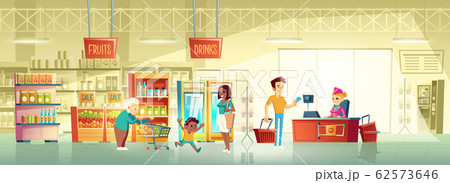 People in supermarket interior cartoon 62573646