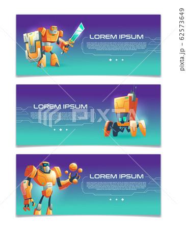 Cybernetic organisms cartoon web banners 62573649