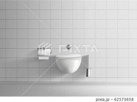 Toilet room with wall-hanging toilet bowl 62573658