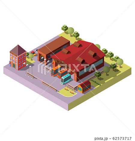 Bus depot building exterior isometric icon 62573717