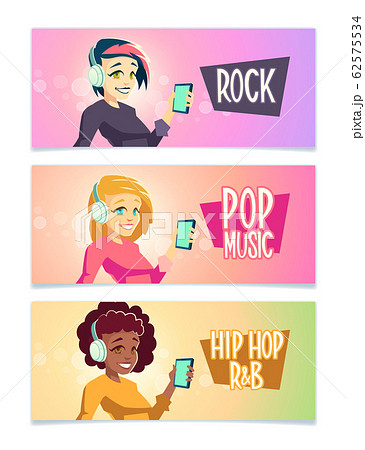 Music styles fans cartoon banners set 62575534