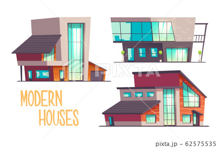 Modern architecture houses cartoon set 62575535