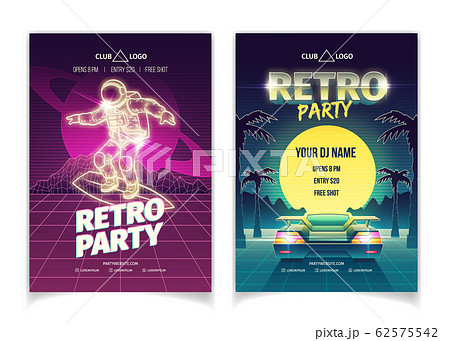 Retro party in nightclub ad flyer template 62575542