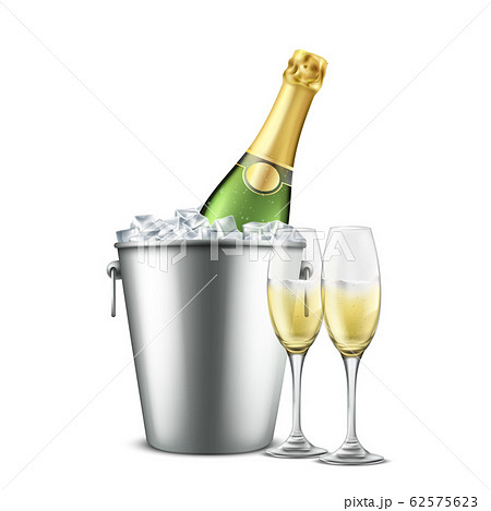 Chilled champagne in wine glasses realistic 62575623