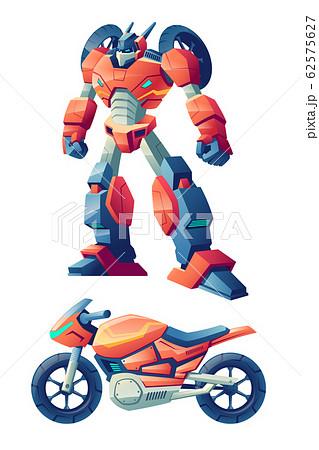 Robot transforming in motorcycle cartoon 62575627
