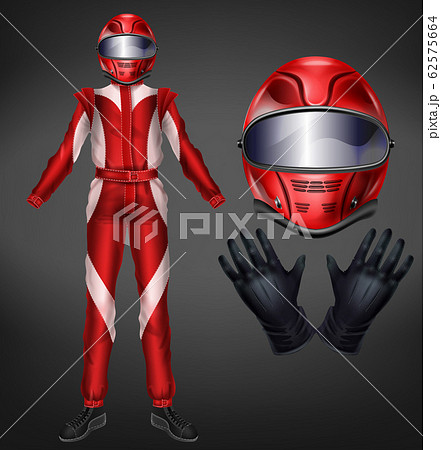 Racing driver suit elements realistic set 62575664