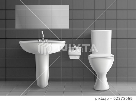 Toilet room with washbasin realistic mockup 62575669