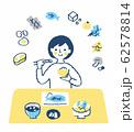 食事をする女性 栄養バランス 62578814