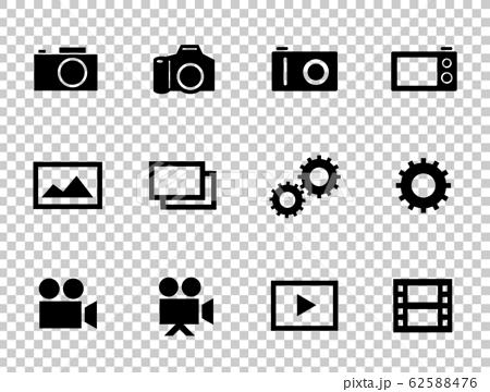 為相機,照片,視頻等設置的圖標。 62588476