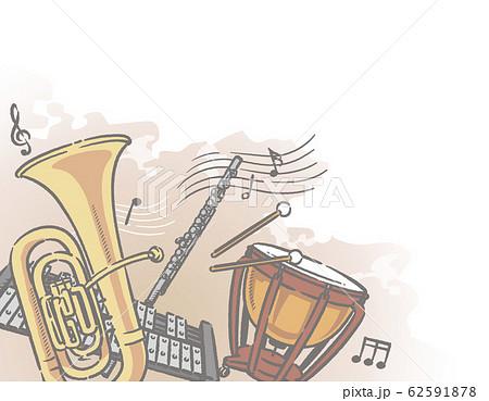 オーケストラ楽器がテーマの背景素材 62591878