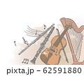オーケストラ楽器がテーマの背景素材 62591880