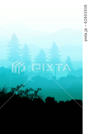 Natural forest trees mountains horizon hills silhouettes of trees and hills in the evening Sunrise and sunset Landscape wallpaper Illustration vector style Colorful view background 62603936
