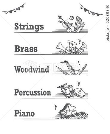 金管楽器など、ジャンル分けされた音楽のラベル、バナー素材 62639346