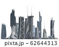 Futuristic City isolated on white 3D illustration 62644313
