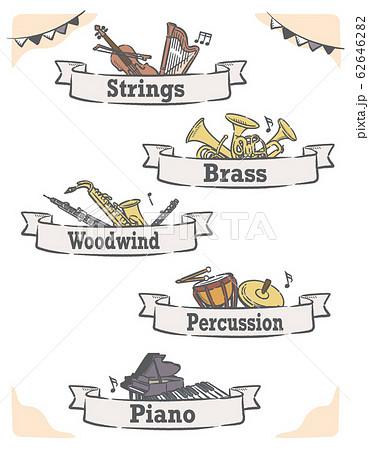 金管楽器など、ジャンル分けされた音楽のラベル、バナー素材 62646282