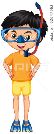 Boy in diving gears on white background 62647962