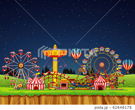 Circus scene with no people at night time 62648178