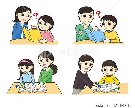 小学生の勉強をみる 62664346