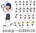 flat type school girl White shirt summer_Action 62666156