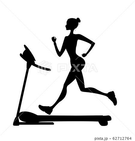 girl silhouette running on a treadmill 62712764
