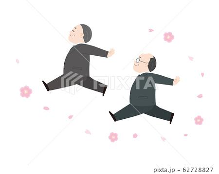 優雅に舞う中年の男性と桜 62728827