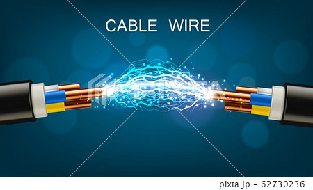Electrical power cable, copper wires and discharge 62730236